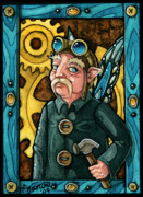 Cog Paintings - The Explorer Portrait ACEO by Christi Brown