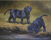 Puppies Painting Originals - The Explorers by Kathleen  Hill