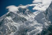 Low Angle Views Prints - The Extreme Terrain Of Mount Everest Print by Michael Klesius