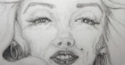 Voluptuous Drawings Prints - the eyes of Marilyn Print by Nancy Rucker