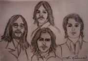 Fab Four Drawings Framed Prints - The Fab Four Beatles Framed Print by Lois    Rivera
