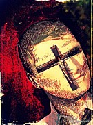 Blind Eyes Prints - The Face Is Sowing Fertile Shadow Of The Cross Print by Paulo Zerbato