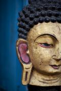 Buddhism Art - The Face Of A Statue In Nepal by David DuChemin