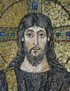 Religious Reliefs Prints - The face of Christ Print by Byzantine School