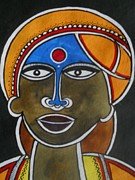 Tribal Art Paintings - The Face by Paritosh Pal