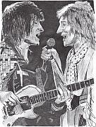 Rock N Roll Drawings Originals - The Faces by Jason Kasper