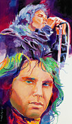 1960 Painting Posters - The Faces of Jim Morrison Poster by David Lloyd Glover