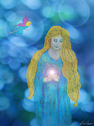 Magic Pastels Posters - The Faery Gift Poster by Diana Haronis
