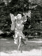 Black And White Antiqued Fairy On Swing Photo Prints - The Faery Swing Print by Aimee Mouw
