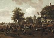 Villagers Framed Prints - The Fair at Oegstgeest Framed Print by Jan Havicksz  Steen
