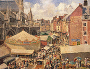 Crowds Painting Posters - The Fair in Dieppe Poster by Camille Pissarro