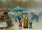 Fairs Paintings - The Fairground  by Henry Jones Thaddeus
