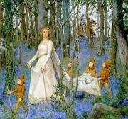 Raphaelite Framed Prints - The Fairy Wood Framed Print by Henry Meynell Rheam