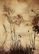 Grass Drawings Framed Prints - The Fairys Tightrope from Peter Pan in Kensington Gardens Framed Print by Arthur Rackham