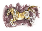 Head Drawings Prints - The Fairytale Horse 1 Print by Angel  Tarantella