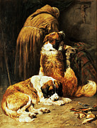 Puppies Painting Prints - The Faith of Saint Bernard Print by John Emms
