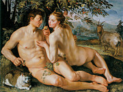 Adam And Eve Metal Prints - The Fall of Man Metal Print by Hendrik Goldzius