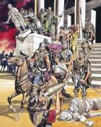 Gouache Paintings - The Fall of the Roman Empire in the West by Ron Embleton