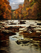 Fall Leaves Framed Prints - The Fall on the River Avon  Framed Print by John Farnan