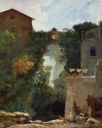 Country Scene Paintings - The Falls of Tivoli by Jean Honore Fragonard