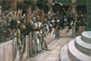Jeering Framed Prints - The False Witness Framed Print by Tissot