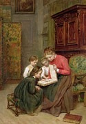 Indoors Painting Framed Prints - The Family Album Framed Print by Charles Edouard Frere