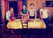 Dinner Paintings - The Family Dinner by John Keaton