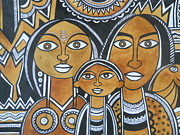 Indian Tribal Art Drawings - The Family by Paritosh Pal