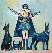 Doberman Pinscher Paintings - The Family That Plays Together by Fabrizio Cassetta