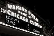 Friendly Confines Posters - The Famous Wrigley Field Sign in Black and White Poster by Anthony Doudt