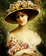 Half Length Paintings - The Fancy Bonnet by Emile Vernon