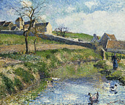 Duck Pond Posters - The Farm at Osny Poster by Camille Pissarro