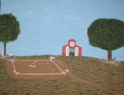 Softball Painting Originals - The Farm Diamond by Gregory Davis