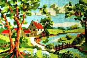 Magical Tapestries - Textiles Framed Prints - The Farm House Framed Print by Farah Faizal