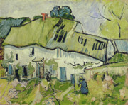 Roofs Metal Prints - The Farm in Summer Metal Print by Vincent van Gogh
