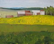 Francois Fournier Paintings - The Farm on a Dandelion Field Sawyerville Quebec Canada by Francois Fournier