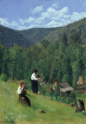 Mountainous Paintings - The Farmer and His Son at Harvesting by Thomas Pollock Anschutz