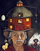 Chick Painting Posters - The Farmer Poster by Leah Saulnier The Painting Maniac