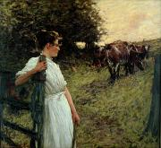 1859 Painting Metal Prints - The Farmers Daughter Metal Print by Henry Herbert La Thangue