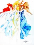 Sisters Drawings - The Fates by Erika Brown