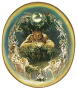 Fairies Framed Prints - The Faun and the Fairies Framed Print by Daniel Maclise