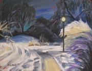 Snowy Night Painting Metal Prints - The Fauvist Path Metal Print by Rivkah Singh