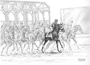 Swan Drawings Posters - The Favorite - Horse Racing Art Print Poster by Kelli Swan