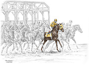 Thoroughbred Drawings - The Favorite - Thoroughbred Race Print color tinted by Kelli Swan