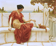 Greek Sculpture Posters - The Favorite Poster by John William Godward