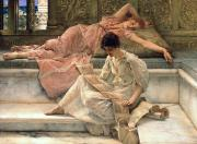 Cushion Painting Metal Prints - The Favourite Poet Metal Print by Sir Lawrence Alma-Tadema
