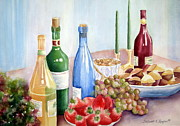 Strawberries Paintings - The Feast by Deborah Ronglien