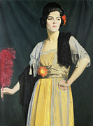 Red Flower Paintings - The Feather Fan  by William Strang