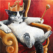 Humor Painting Prints - The Feline Perspective Print by Beth Davies