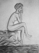Pondering Drawings Prints - The Female Thinker Print by R B